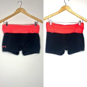 Under Armour Black & Pink Spandex Shorts Sz L